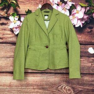 J.Crew Green Short Scottish Cloth Wool Coat Size 4